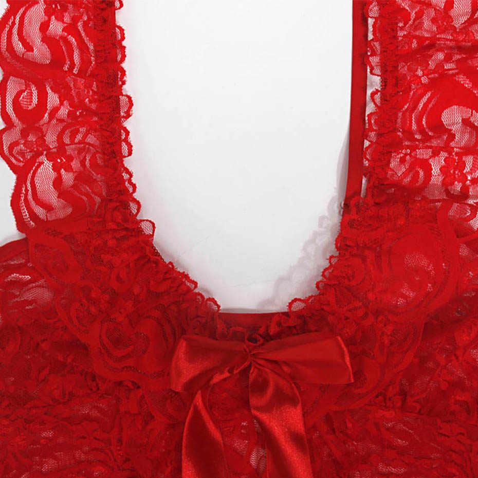 Rosetic женская готическая Сексуальная ночная рубашка кружевная ночная рубашка Ночное платье глубокий v-образный вырез полые платья просвечивающее белье размера плюс платье
