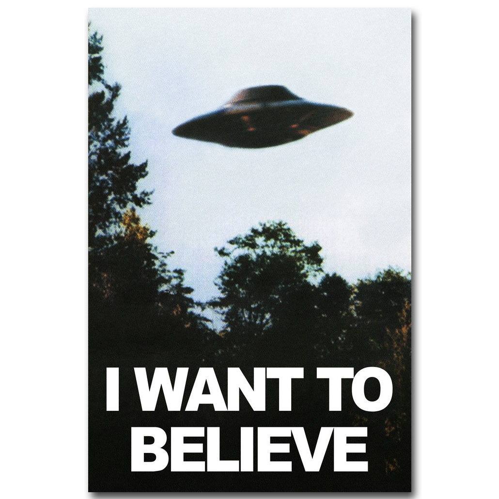NICOLESHENTING jeg vil tro - The X Files Art Silk Plakat Skriv ut UFO TV Series Pictures Living Room Decor 002