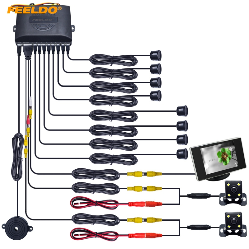 FEELDO 1Set Car 8 Sensors Front&Rear Dual View Parking Sensor Backup Radar System+Monitor+ CCD Camera #AM4449