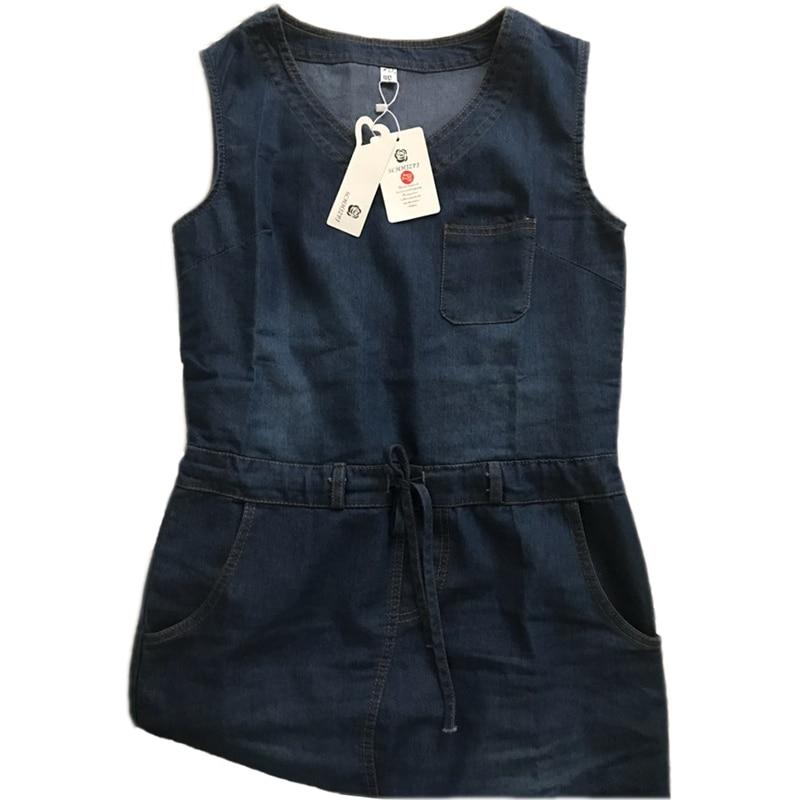 Summer denim dress women plus size clothing sleeveless for Sleeveless dress shirt womens