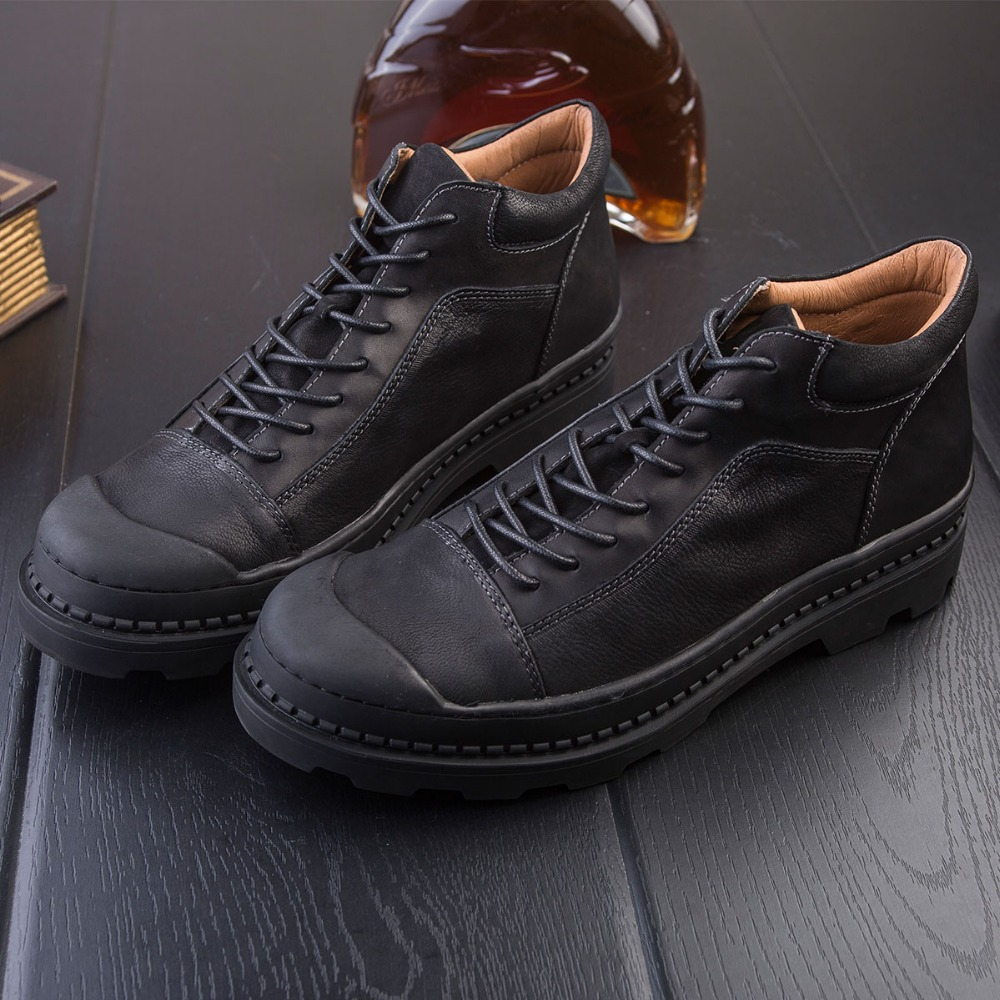 DAVIKO Genuine Leather Boots Male Autumn Winter Boots Retro England Scrub Martin Vintage Boots Men Ankle Male Shoes DV913 2016 new martin male autumn and winter genuine leather platform medium leg mens equestrian vintage motorcycle boots