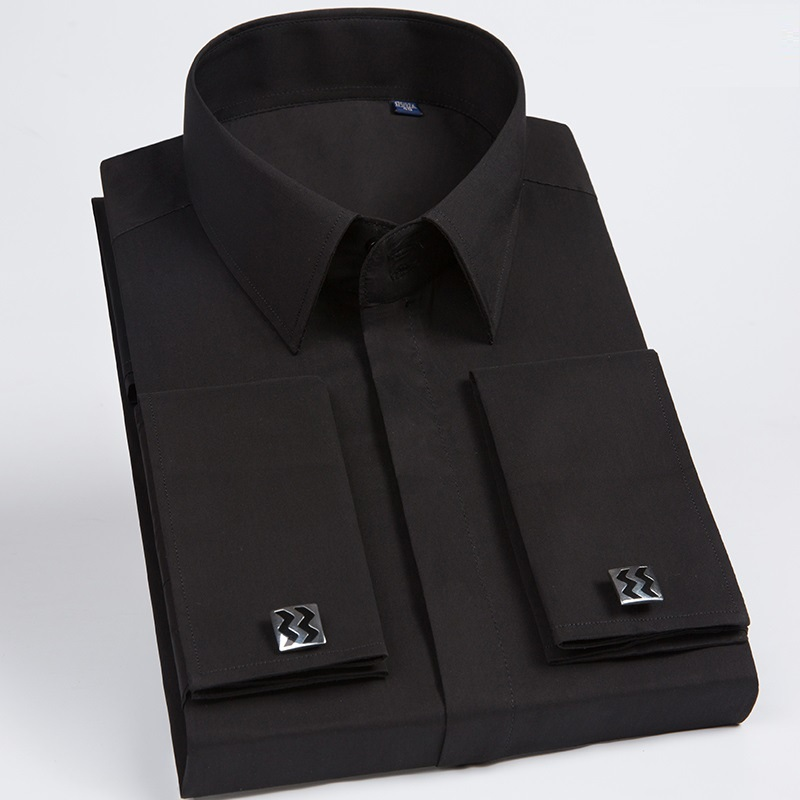 Brand Male Shirts Patchwork Black Button Turn Down Collar Long Sleeve Twill Business Formal Mens Dress Shirts Solid Men 's Top