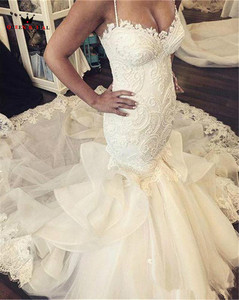 Image 2 - Mermaid Sweetheart Lace Pearls Sequins Big Train Sexy Luxury Formal Wedding Dresses Bridal Wedding Gowns Custom Made WD26M
