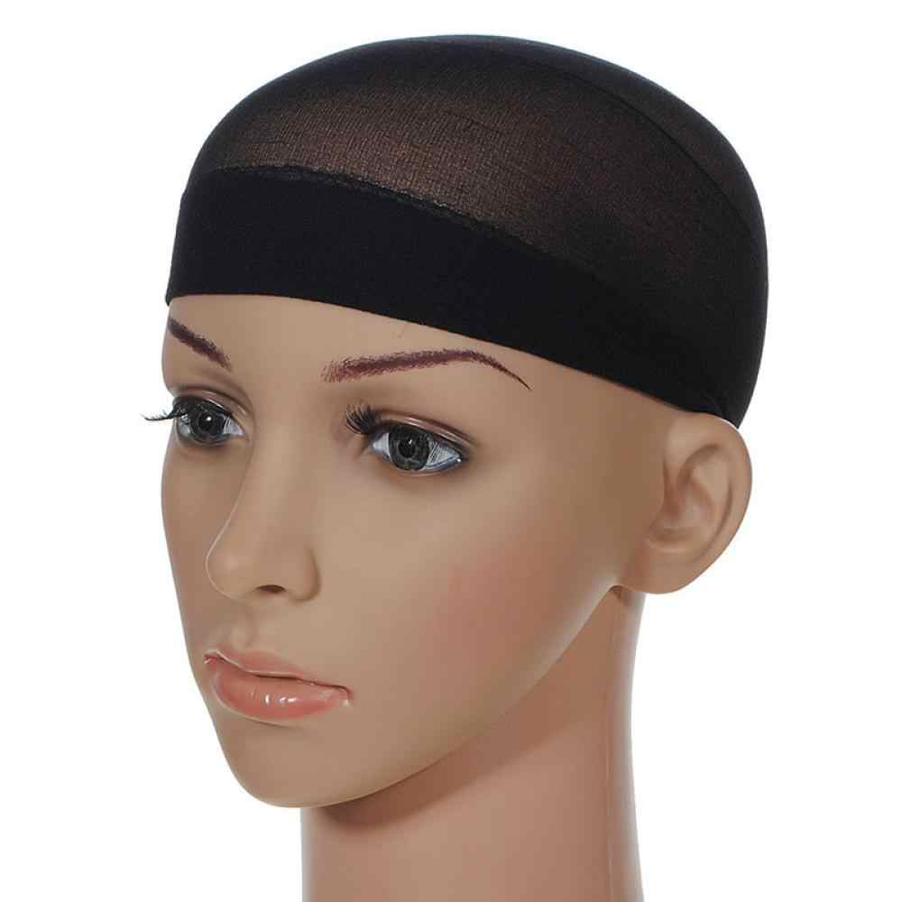2pcs/pack Unisex Stocking Wig Liner Cap Snood Nylon Stretch Mesh Black Nude Beige