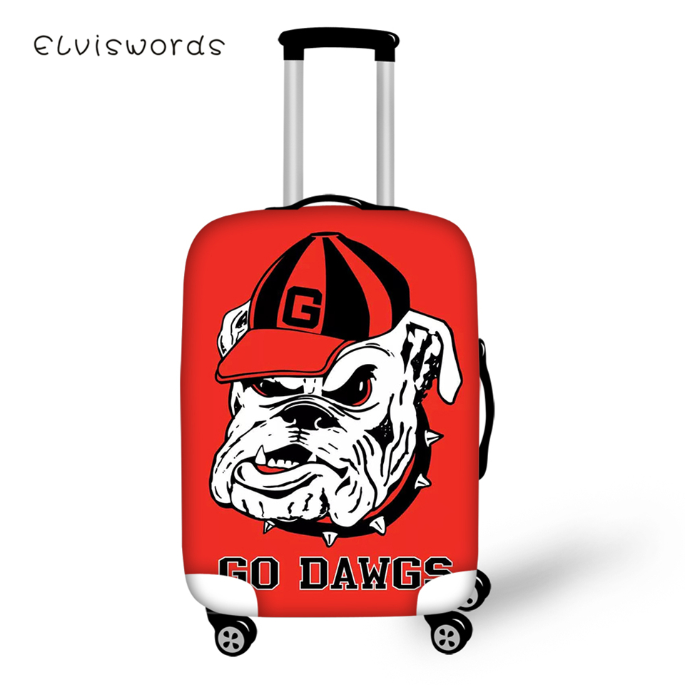 ELVISWORDS Suitcase Protective Cover Little Bulldogs Pattern Elastic Dust-proof Kawaii Design Travel Luggage Accessories