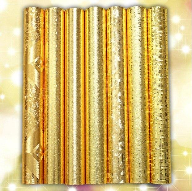 где купить Classic new silver golden wall paper PVC foil paper wallpaper washable roof Metal wiredrawing grain Sitting room bar restaurant по лучшей цене
