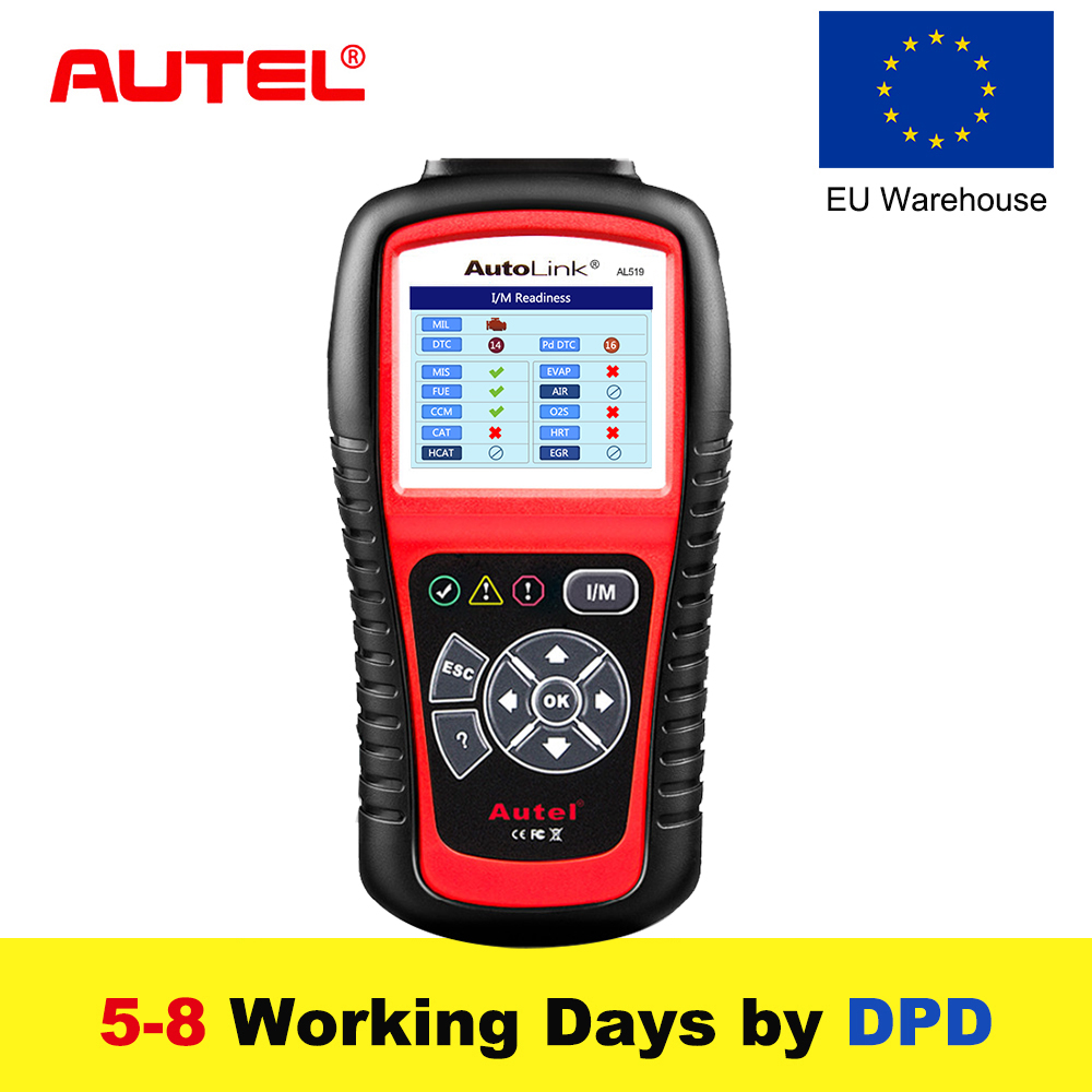 Autel AutoLink AL519 OBD2 Scanner Car DTC Reader Scan AL-519 OBDII Auto Diagnostic-Tool Code Reader OBD 2 II Scanner PK MS509 universal obd2 auto scanner foxwell nt301 auto diagnostic tool engine scanner fault code reader with o2 sensor same as al519