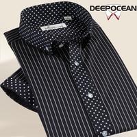 Summercott Черный и белый цвета в полоску Мерсеризованный хлопчатобумажная рубашка мужская рубашка с короткими рукавами тенденция тонкий 100% ле...
