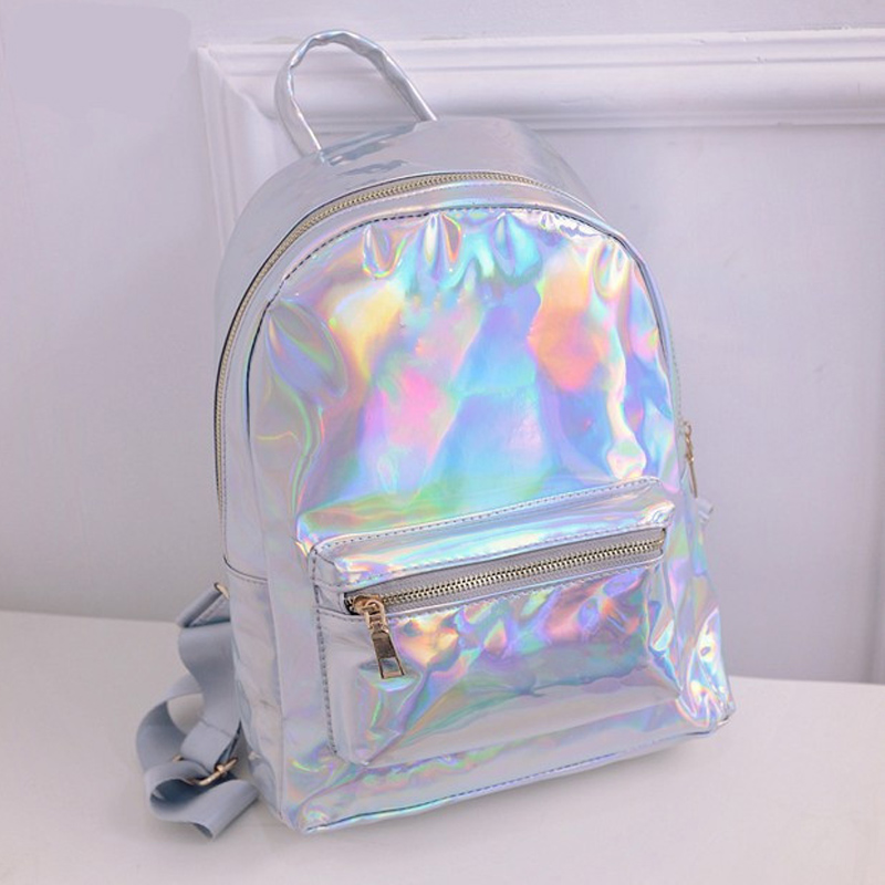2018 Summer New quality Fashion Laser Backpack Female Student PU Leisure Travel Backpack Casual Multicolor Bag For School Girls