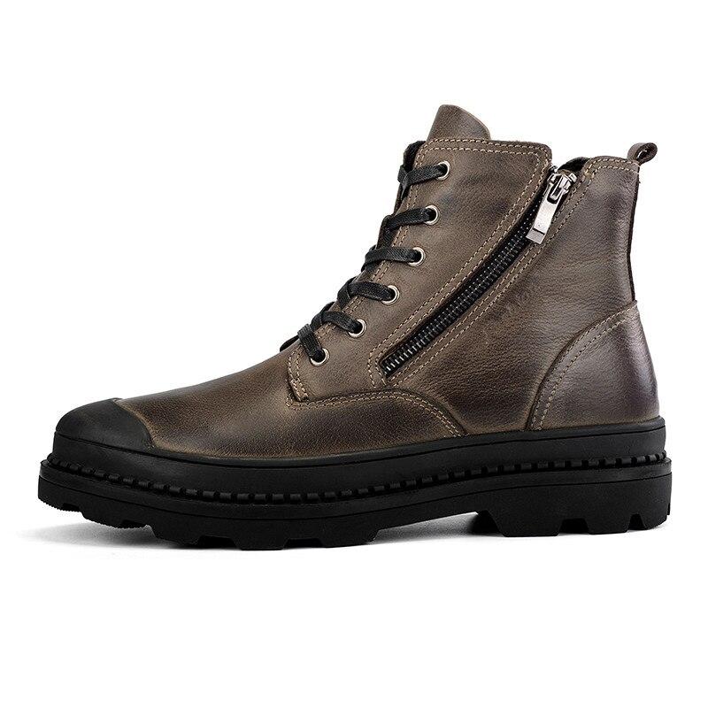 CcharmiX Big Size 38 47 Mannen Laarzen Lederen Winter Laarzen Schoenen Mannen Warm Furry Rits Laarzen Mannen Mode enkel Snowboots-in Eenvoudige Laarzen van Schoenen op  Groep 2