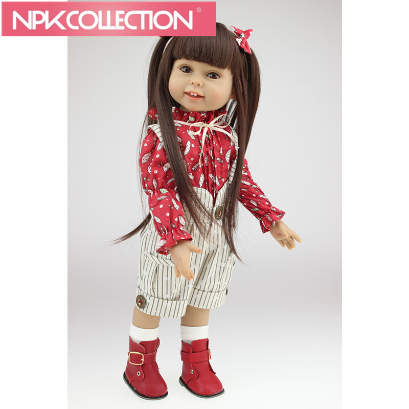 NEW Models 18 Long Hair 45cm Full Silicone Girl Doll Realistic Baby Toys Birthday Gift for Girls As American Dolls N263 18 american girl dolls princess dolls toys for girls children birthday gift 45cm girls doll with clothes and headdress