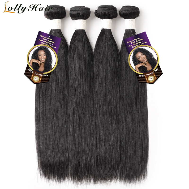 Lolly Hair Peruvian Straight Hair Bundles 4 Pieces Remy Hair Extensions 100% Human Hair Weave Bundles 8-28 inch Free Shipping