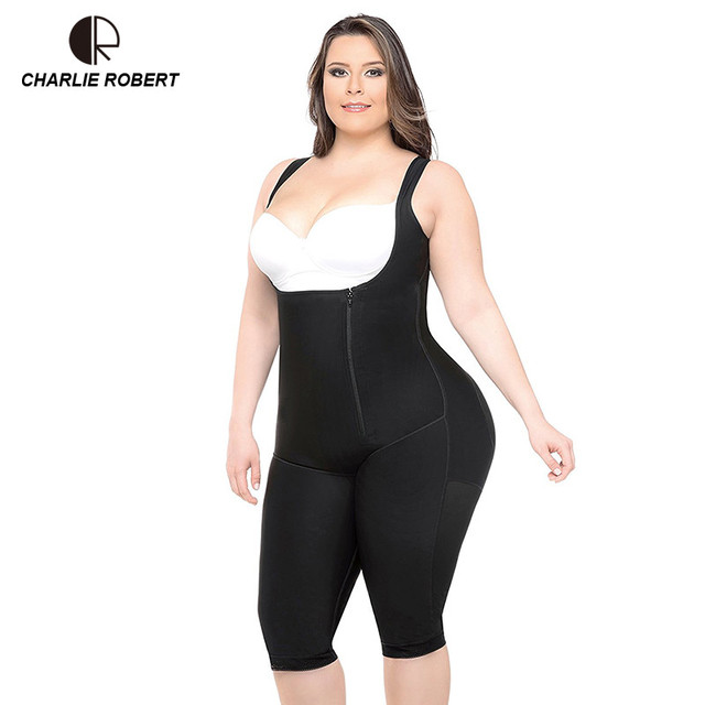 c69de2b5951 CR Plus Size 5XL Hot Latex Women s Body Shaper Post Liposuction Girdle Clip  Zip Bodysuit Vest Waist Shaper Reductoras Shapewear