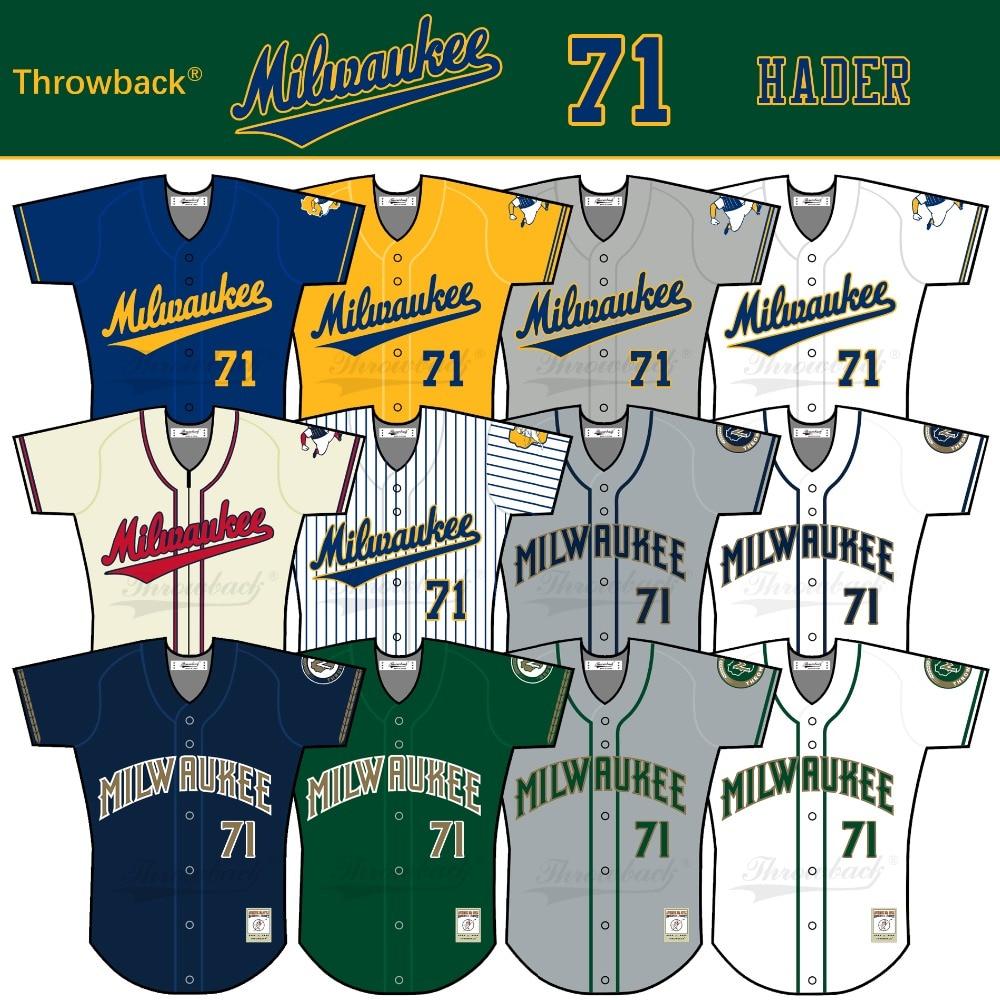 Throwback Jersey Men's Milwaukee Jersey 71 Josh Hader Baseball Jersey White Yellow Green Blue Gray Size S-XXXL Free Shipping