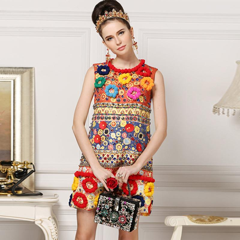 Luxury Dress New 2018 Summer Sleeveless Fashion Beading Above Knee Jacquard High Quality 3D Slim Elegant