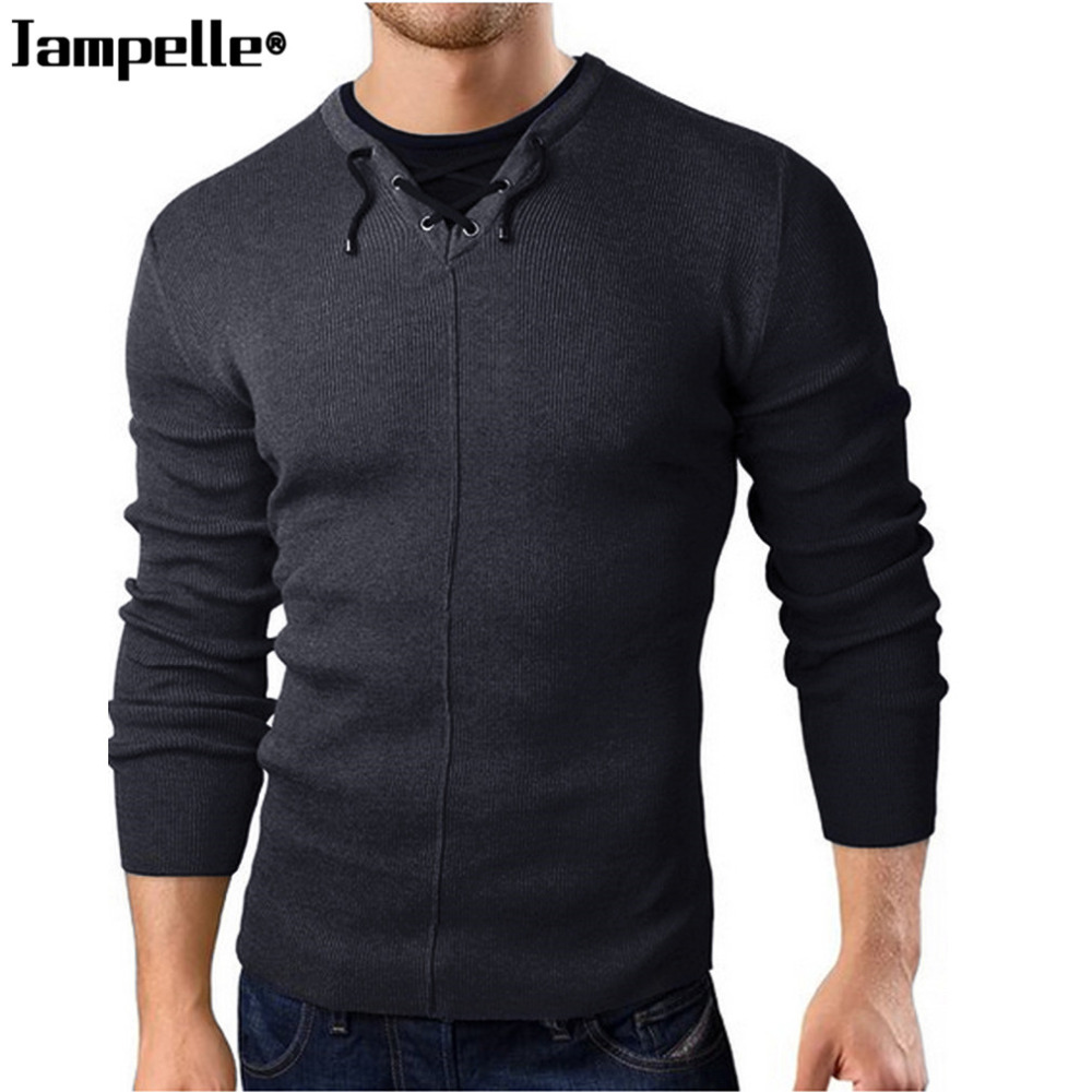 Jampelle Brand Autumn Casual Men Sweater Pollovers Fashion Design Cotton Knitted Round Neck Warmth Male Sweater 2018 New Arrival