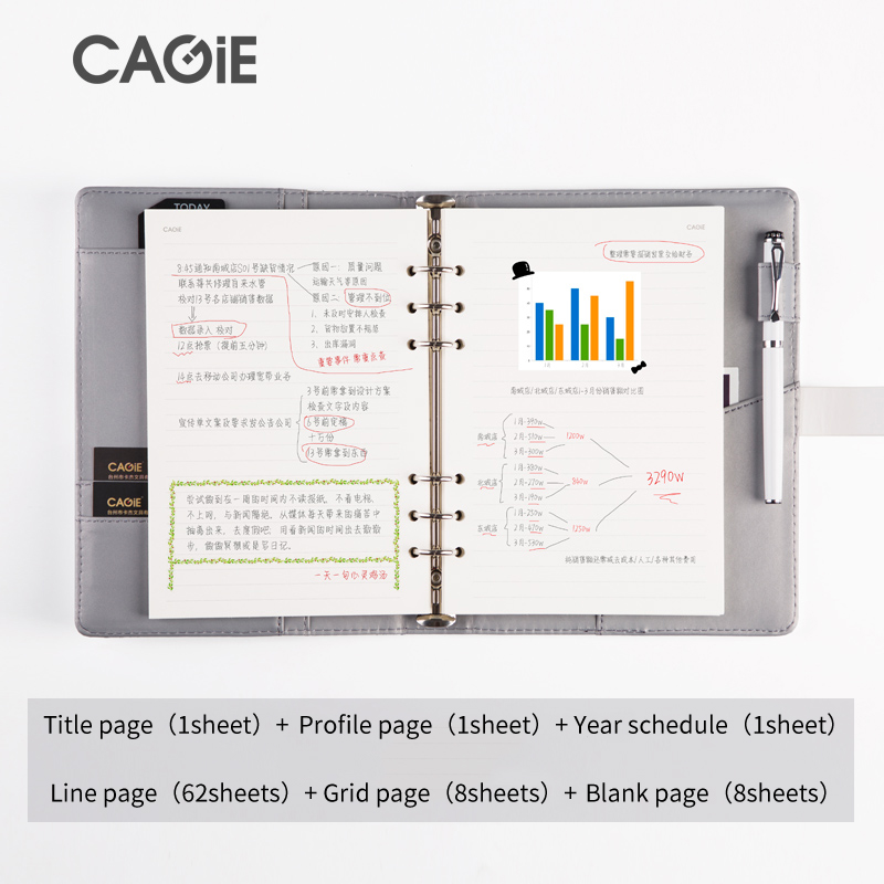cagie diary with lock a5 binder travel journal brief lines pages