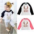 baby girls T-shirt Deeriy letter print raglan sleeve kids toddler tops spring fashion children long sleeve Tees girl clothes
