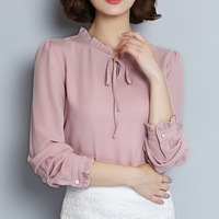 Spring Autumn Shirt Women 2017 Woman Chiffon Blouse Long Sleeve Ruffle Collar Fashion Tops Women S