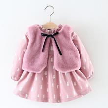 TELOTUNY 2017 Newborn Baby Girls Cartoon Warm Princess Dress+Waistcoat Outfits Clothes Set NO28