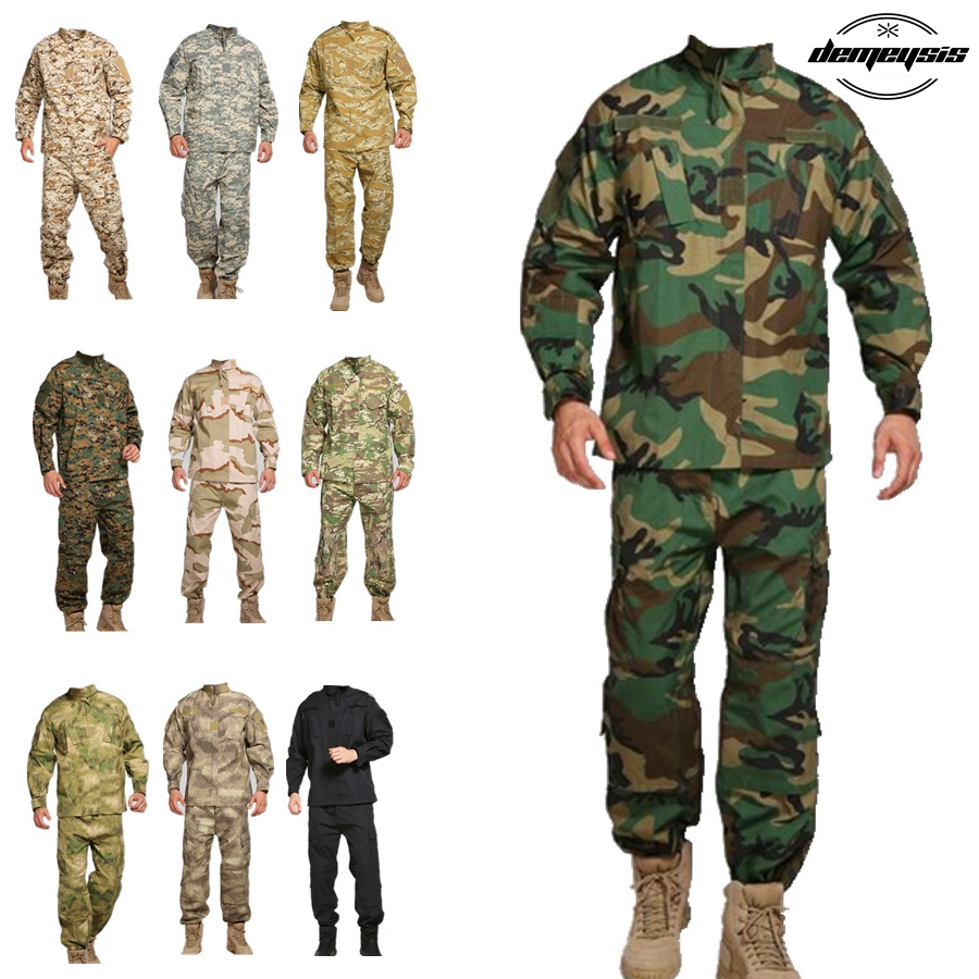 13 Color Army Military Tactical Uniform Shirt + Pants Camo Camouflage Combat Uniform US Army Men's Clothing Suit Airsoft Hunting lurker shark skin soft shell v4 military tactical jacket men waterproof windproof warm coat camouflage hooded camo army clothing