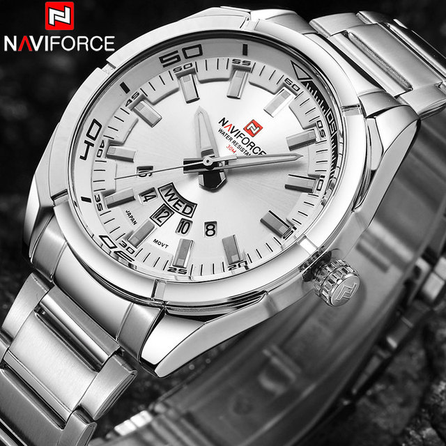 e9c5b79ee45 NAVIFORCE Marca Homens Relógios De Luxo Esporte 30 m À Prova D  Água  Relógios de Quartzo dos homens da Banda de Aço Inoxidável Auto Data ...