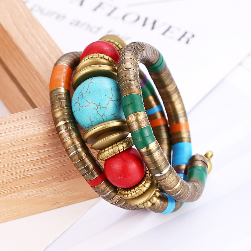 4 Style Imitation Pearls Crystal Wood Nature Stone Bangle Exquisite Popular Elasticity Small Bracelet For Women Ethnic Jewelry in Bangles from Jewelry Accessories