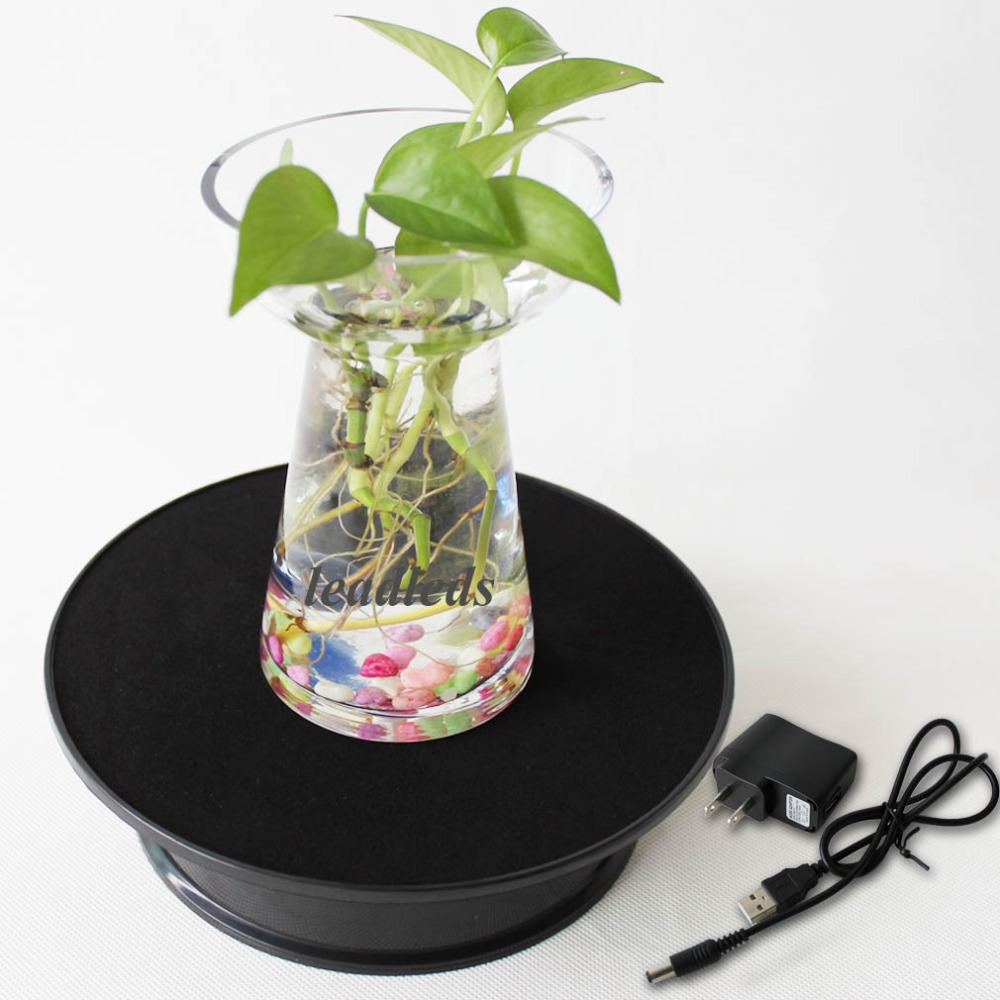Free Shipping Black AAA Battery Powered 360 Turntable Rotating Jewelry Watch Phone Display Stand Holder