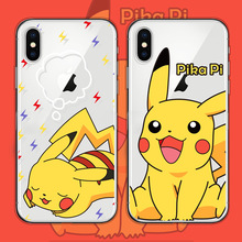 Funny cute cartoon Pokemons Pikachue clear phone case for coque iPhone 7 8 6 6s plus silicon For iphone cover X XR XS Max