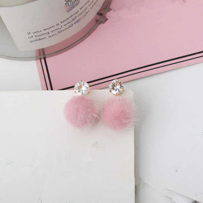 New jewelry simple autumn and winter furry short personalized set of sweet and beautiful earrings