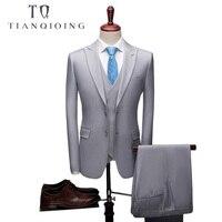 2018 новые высококачественные мужские брендовые свадебные костюмы для жениха хорошего качества Деловые повседневные мужские костюмы 3 Peiece (к