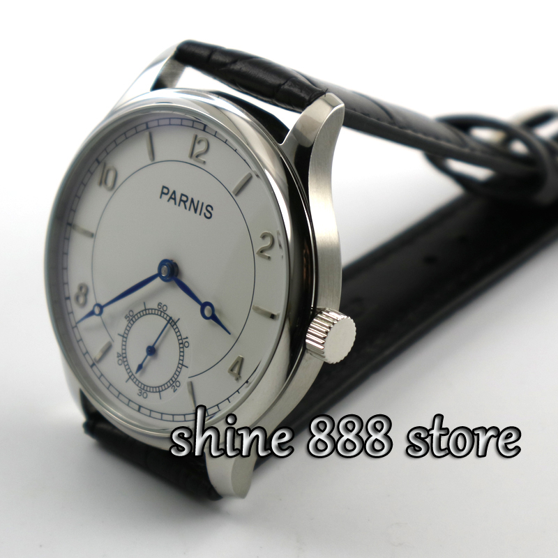 Parnis 44mm White dial Blue hands 6498 hand winding ...