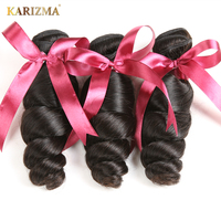 Karizma 100 Brazilian Human Hair Weaving Loose Wave 8 28inch Non Remy Hair Bundles Natural Color