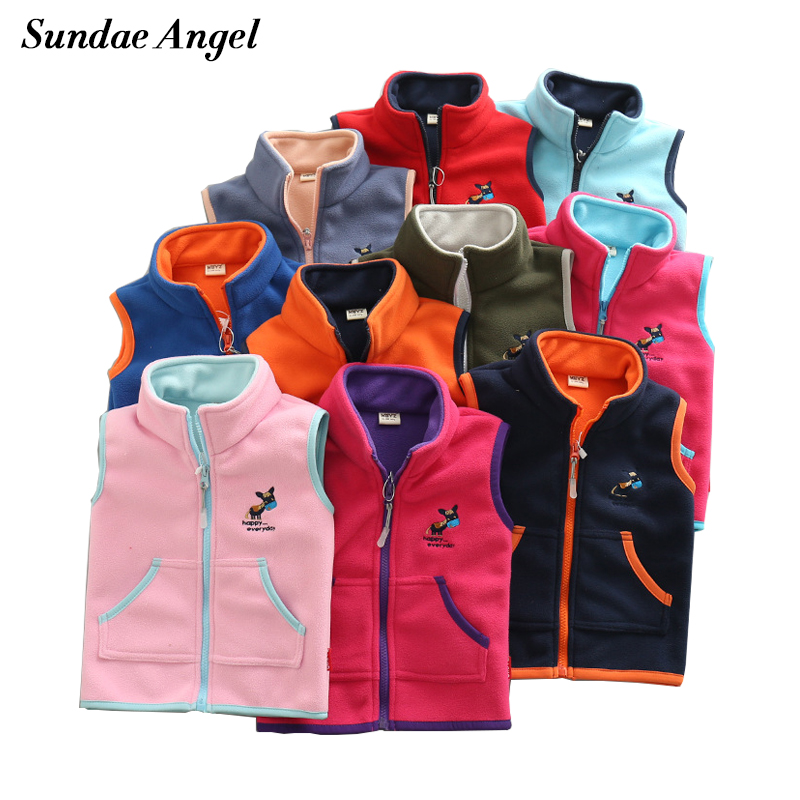 Sundae Angel Vest For Girl Waistcoat Stand collar Children Vest For Boy Embroidery Donkey Pattern Polar Fleece Outerwear Coats cute stand collar see through parrots pattern tankini set for women