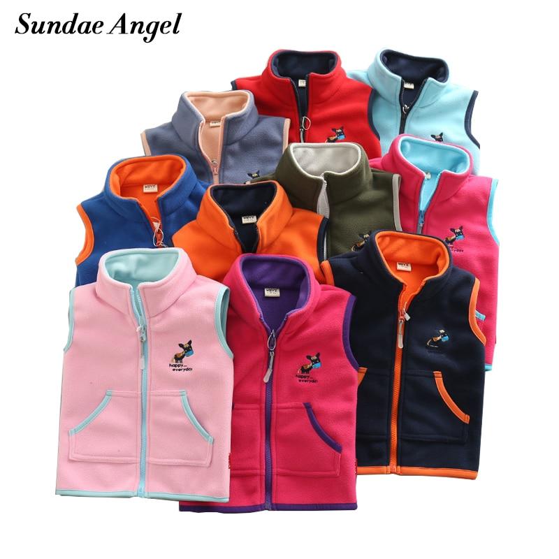 Sundae Angel Vest For Girl Waistcoat Stand collar Children Vest For Boy Embroidery Donkey Pattern Polar Fleece Outerwear Coats