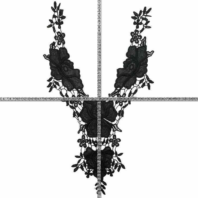 1 PCS Nero 3d Fiori In Tessuto Neckline Del Collare Del Ricamo di Applique Abito Da Sera Guipure Assetto Pizzo Decorativo Scrapbooking 2019