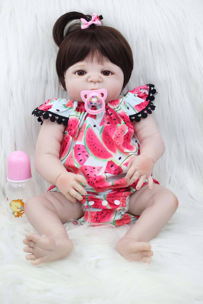 55cm Full Silicone Reborn Baby Doll Toys 22inch Newborn Princess Girl Toddler Babies Dolls Xmas Birthday Gift Child Bathe Toy handmade 22 inch newborn baby girl doll lifelike reborn silicone baby dolls wearing pink dress kids birthday xmas gift