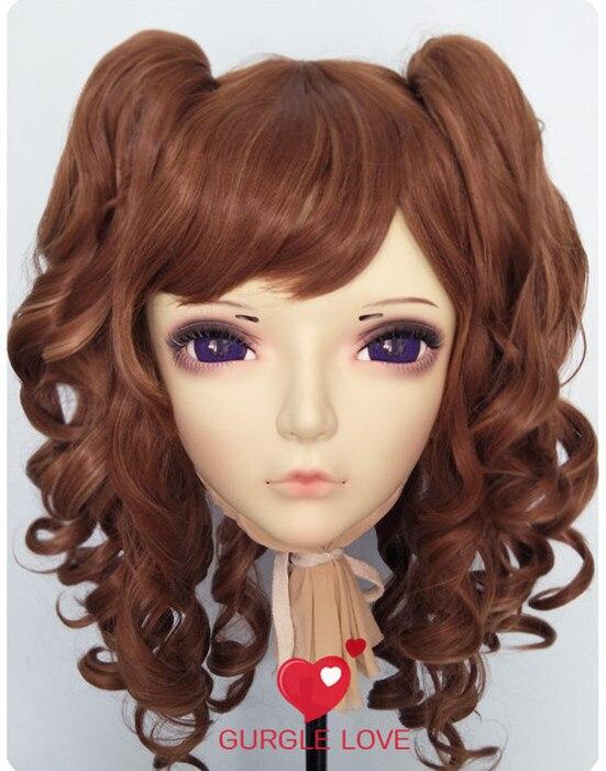 Female Sweet Girl Resin Half Head Kigurumi Mask With Bjd Eyes Cosplay Anime Role Lolita Mask Crossdress Doll gl041 Well-Educated