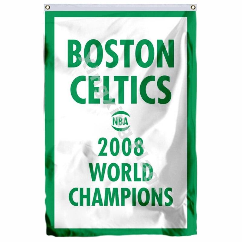 Boston Celtics 2008 World Champions Flag 3ft X 5ft Polyester NBA1 Team Banner Flying Size No.4 144* 96cm Custom Flag ...