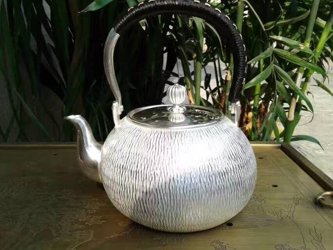 Soften Water Sterling Silver 940G Willow Pattern Kettle 1.4L Manual Whistling Water Kettles With Gift Box