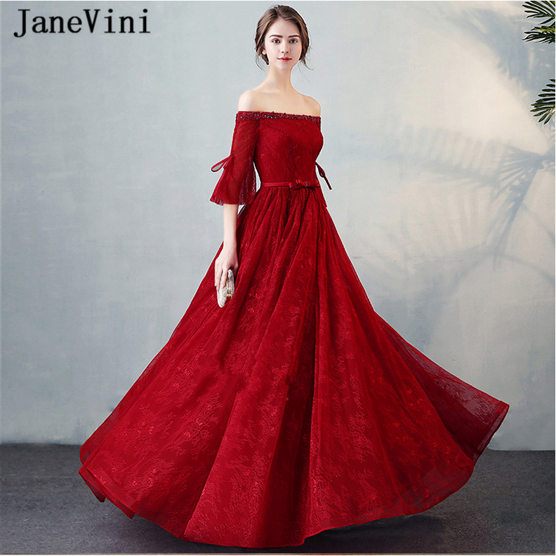 JaneVini Graceful Burgundy Long   Bridesmaid     Dresses   2018 A Line Boat Neck Beaded Poet Half Sleeve Lace Prom Gowns Vestidos Largos