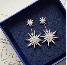 Fashion Front Back CZ Crystal Stars Stud and Ear Jacket Earrings for Women Mismatch Style