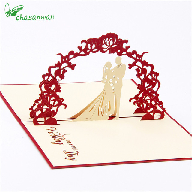 2 Pcs 3D Sweet Wedding Invitation Card Marriage Blessing Card