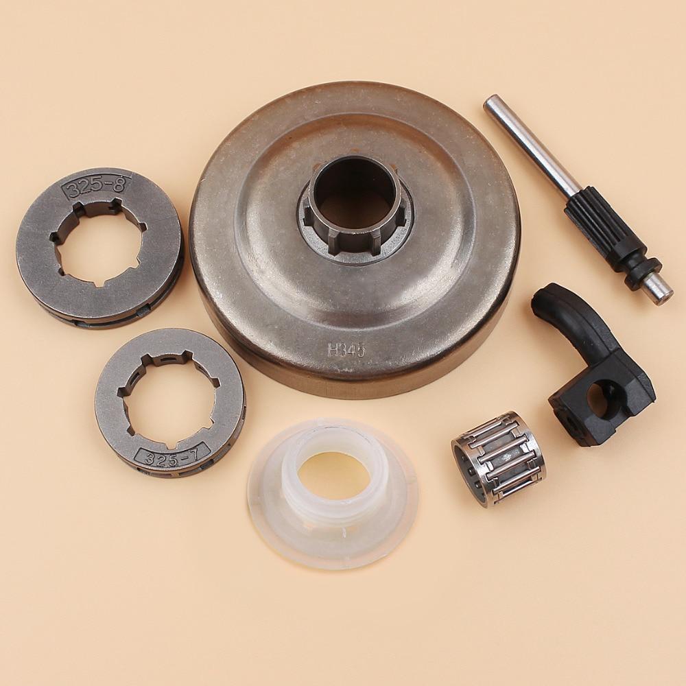 Adefol .325 7T Clutch Drum Sprocket Rim for Husqvarna 445 445E 450 450E Chainsaw with Bucking Spike Oil Pump Worm Gear