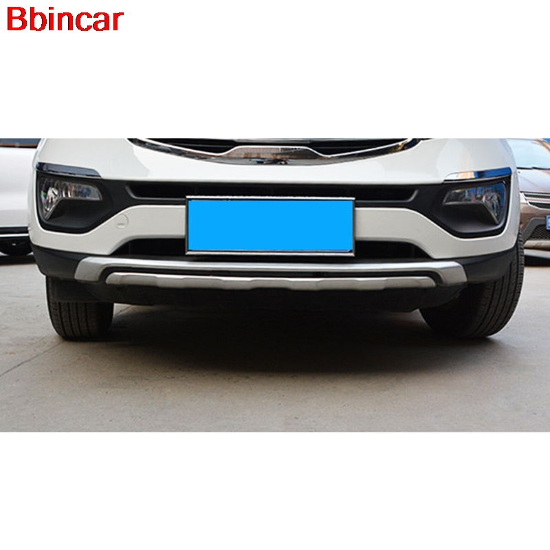Bbincar ABS Chrome For Kia Sportage R 2010 2011 2012 2013 2014 Front Rear Bumper Guard Protector Skid Plate Exterior Trim 2pcs for 2011 2012 2013 2014 2015 kia sportage high quality plastic abs chrome front rear bumper cover trim car styling accessories