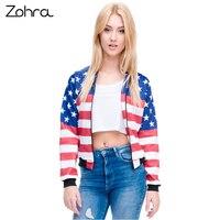 Zohraมาใหม่ผู้หญิงเครื่องบินทิ้งระเบิดแจ็คเก็ต3Dพิมพ์สหรัฐอเมริกาธงทนกว่าเสื้อวัยรุ่นแจ็คเ...