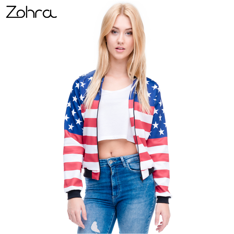 Zohra New Arrival Women Bomber   Jacket   3D Printed USA Flag Outwear Coats Teenager   Basic     Jackets