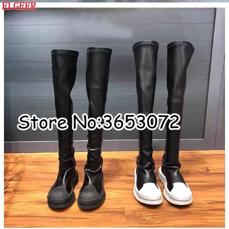 Rome Black White Leather Round Toe Women Over the knee Long Boots Stretch Fit Slip-on Lady Flats Thigh High Boots Shoes Woman