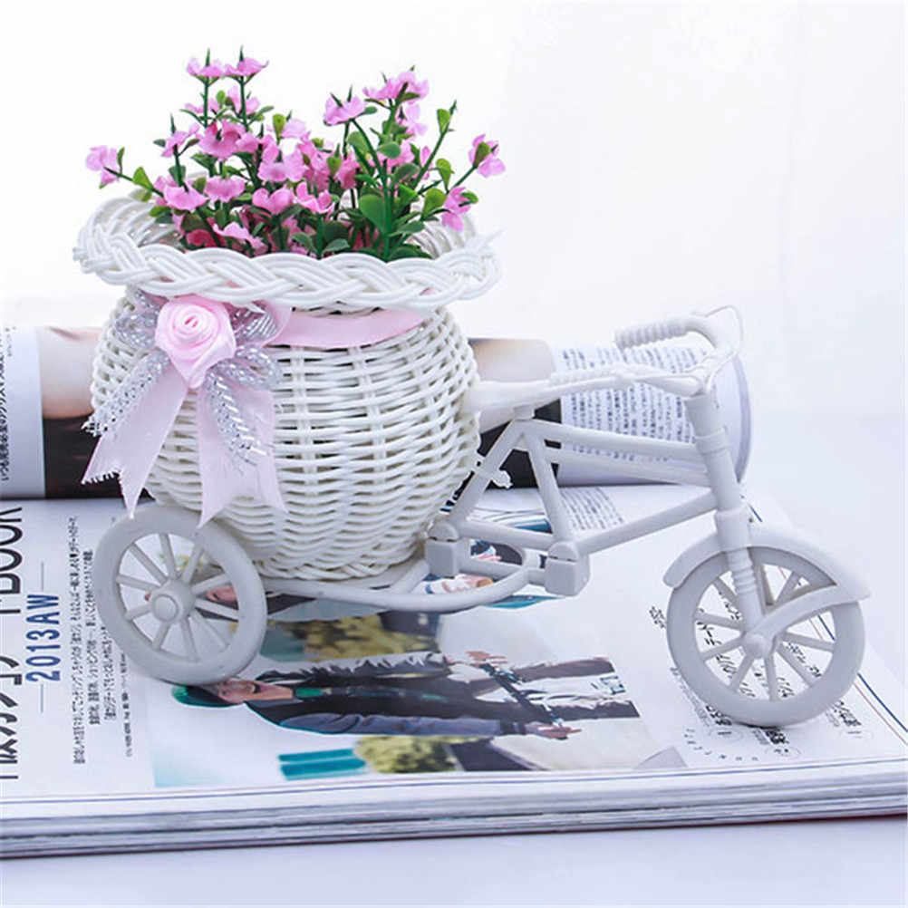 1* White Tricycle Bike Design Flower Basket Storage Container For Party Wedding 22*11cm