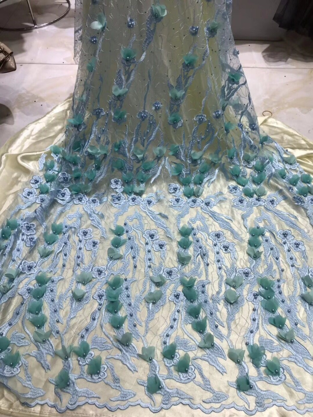 SKY BLUE Wedding Dress Lace Fabric 3D Green Flowers handcut Beads 2019 High quality luxury applique